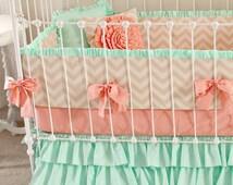 Mint Peach Baby Bedding. Girl Crib Bedding, Baby Girl Bedding, coral and mint nursery, Mint Sorbet Chevron nursery decor  by lottiedababy