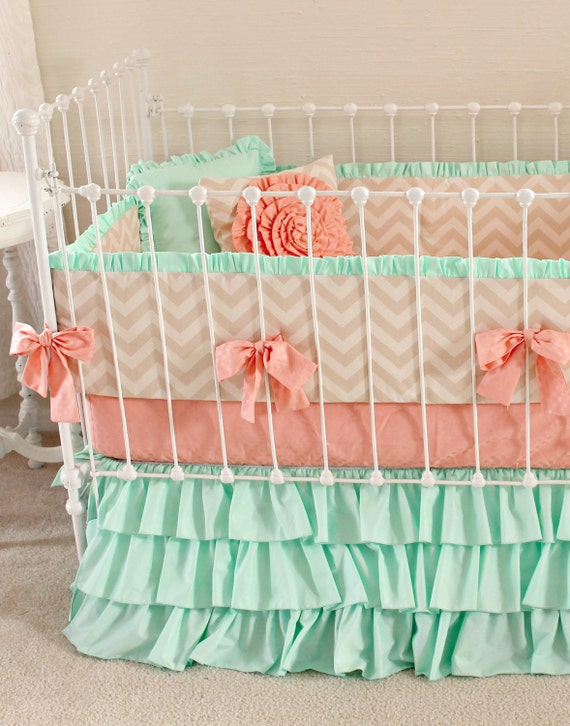 mint and coral crib bedding 2