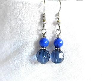 Blue Earrings Mountain Jade Earrings Acrylic Faux Crystal Earrings Dangle Earrings Surgical Steel Earrings Beaded Earrings Silver Earrings