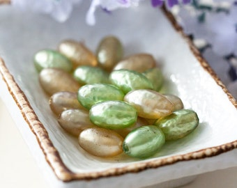 Vintage Mix Lot Miriam Haskell Green Cream Bummpy Oval Glass Pearl Beads from Japan
