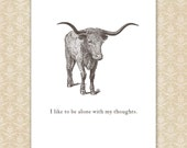 Introvert Quote Print, funny wall art, personalized Texas Longhorn Steer