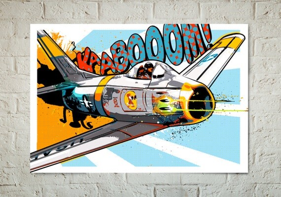 Airplane Decor, Art Print, Pop Art illustration of a F-86 Sabre Jet, vintage Military fighter airplane, Poster, available in multiple sizes