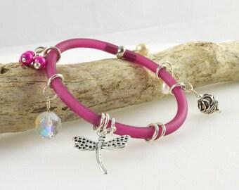 Shocking Pink Bangle, Bright Pink Bangle, Unusual Charm Bracelet, Pink Jewellery, Australian Jewellery, Dragonfly, Dark Pink Bracelet