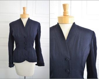1950s Dan Millstein Balenciaga Adaptation Navy Jacket