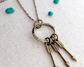 Mother's Arrow Necklace Psalm 127 Vintage Brass Gold