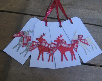 Winter Reindeer Gift Tags, Set of FOUR, Red Silver White, Reindeer Tags, Holiday Gift Trim, Christmas, Reindeer Tags, Holiday SnowNoseCrafts