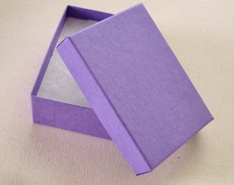 10 High Quality Matte GRAPE PURPLE Cotton Filled Jewelry Boxes 3 1/8 x 2 1/4 x 1 inch - Medium
