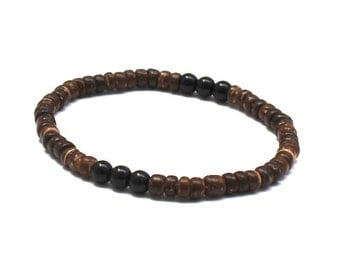 Obsidian Mens Beaded Bracelet, Men Wood Bracelet, Worry Beads Present for Boyfriend Husband Back to school Gifts for him, Yoga Mala Bracelet