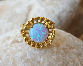 Mint Opal ring, Aqua blue opal ring, Gold ring, Gemstone ring, Light blue stone ring, October birthstone ring, Bridal ring Vintage style
