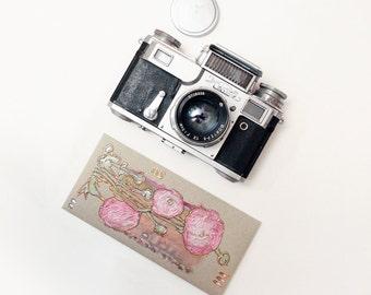 Pink ranunculus - Money Gift Card Envelope - original painting artwork - handmade greeting card - unique gift - mint green olive gold - OOAK