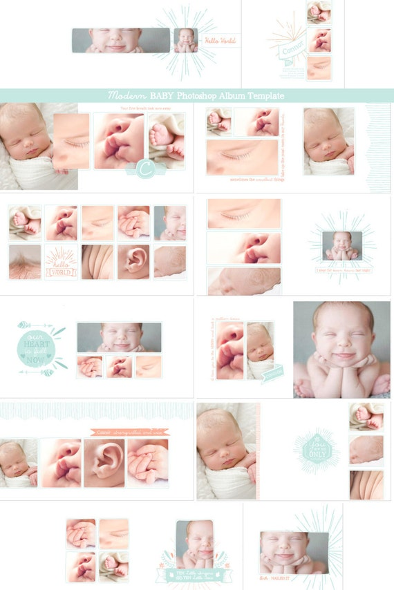 new hipster baby photobook template photoshop album. Black Bedroom Furniture Sets. Home Design Ideas