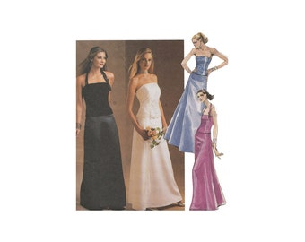 2 Piece Evening Dress Floor Length Flared Skirt & Princess Seam Strapless or Halter Camisole Bust 30.5 McCalls 3683 Sewing Pattern