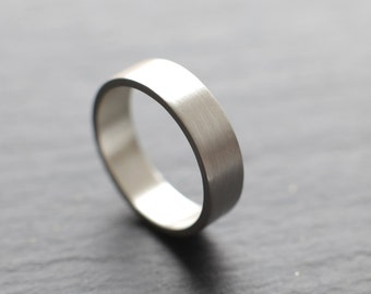6mm wide mens wedding ring in tarnish-resistant Argentium silver, flat profile, brushed finish - made to order