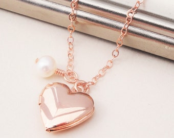 Rose Gold Heart Locket Necklace, Rose Gold Locket Necklace, Heart Locket Necklace with Pearl, Gold Locket Necklace, Wedding Jewelry, Bridal