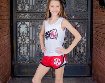 Monogram Running Shorts Athletic Shorts Women Girls Monogrammed Shorts Embroidered Athletic Gym Cheer