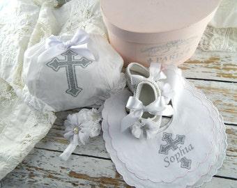 Personalised Baby Girl Baptism Cristening Shoes Headband Bloomers Set / Vintage Style Baptism Bloomers Headband Set / Christening Headband