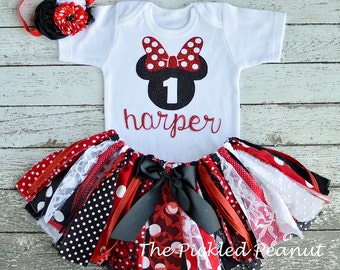 Minnie Mouse Birthday Shirt Onesie Minnie Mouse 1st Birthday 2nd Birthday 1st Birthday Girl Outfit Red Black Baby Shirt Baby Outfit Girl
