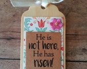 Easter magnet, Holy Week, Easter verse, Easter scripture, Christian Easter decor, He is not here, He has risen Luke 24 6