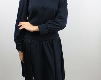 Mod Vintage 1960's Dress Navy Blue and Collared By Kay Windsor