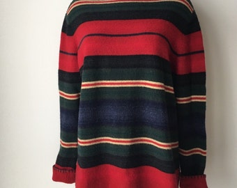 """Southwestern pullover blanket style sweater pure lambswool high neck  long soft cozy Ralph Lauren loose fit plus size 1X chest 44"""""""