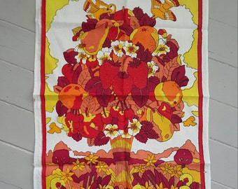 Vintage Tea Towel Linen Cotton Harvest