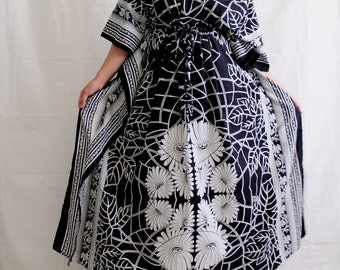 Caftan, maxi dress, indian dress, beach dress, beach cover up, long gown, cotton kaftan, indian dress, maxi dress, sundress (Blk Aster)