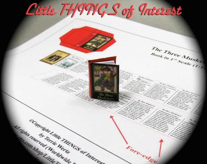 The THREE MUSKETEERS 1:12 Miniature Dollhouse Scale Book PDF Tutorial Printie Printable Download Book Adventure Novel Dumas Louis Xiv France