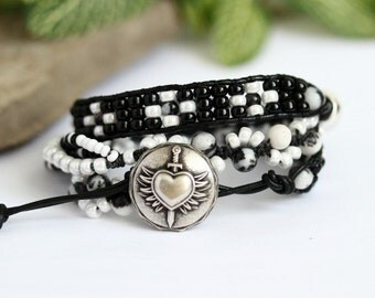 Black and White Leather Wrap Bracelet, Hand Knotted, Zebra Jasper, Braveheart, Multi Strand Bracelet, Triple 3X Wrap, ONE ONLY