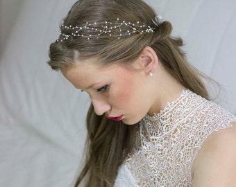 Wedding Pearl Hair Vine,Baby's Breath Hair Vine,Hair Vine Pearls,Wedding Halo Headband,Ivory Pearl Wedding Crown,Pearl Bridal Crown,Bohemian