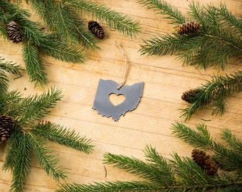 Love Ohio Christmas Ornament State Rustic Metal Ornament Recycle Steel Holiday Gift  Industrial Decor Wedding Favor by Ironmaidart