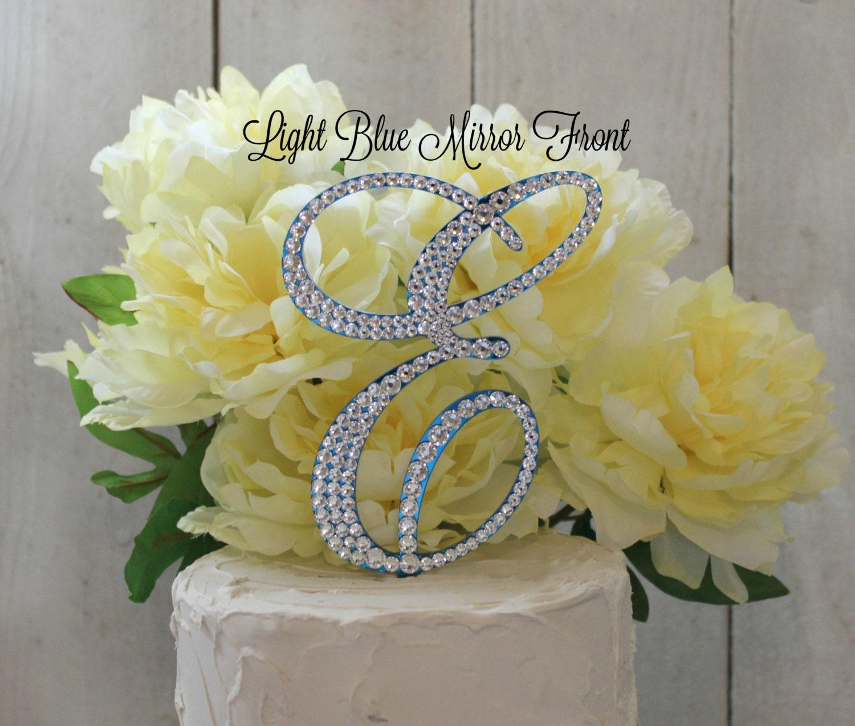 Wedding Cake Topper Monogram Cake Topper Blue letter Cake