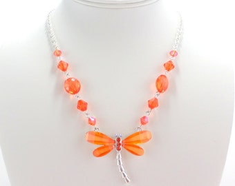 Dragonfly Necklace Tangerine Orange Silver Nature Insect Vintage Necklace Jewelry