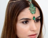 THE SAMIRA  - Green Indian Hair Chain Tikka Jewelry Boho Festival Egyptian Head Indian Pendant Mang Forhead Forehead Headpiece Gold Hair