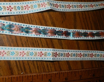 Vintage Jacquard Embroidered Ribbon Trim Shiny Rayon Flowers - By the Yard