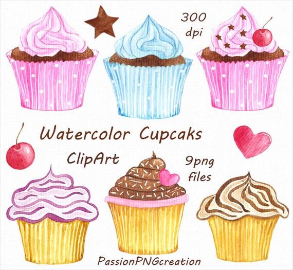 Watercolor Cupcakes Clipart Cupcake clip art Watercolor clip