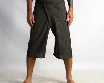 3/4 THAI FISHERMAN PANTS - Yoga Pants, Zootzu, 100% Cotton, Fishermen Pants, Harem Pants, Peasant, Burning Man, Festival - Striped Green
