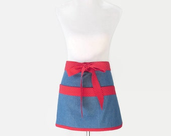 Plus Denim Half Apron, Plus Short Half Apron, Large Blue Half Apron, Plus Teacher Apron, Plus Gardening Apron, Plus Vendor Apron