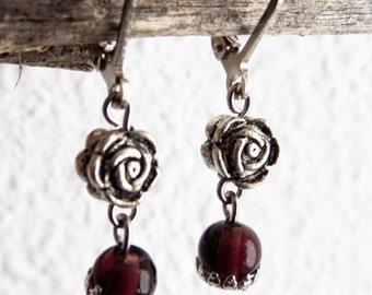 Purple Drop Earrings Tibetan Silver Flower Earing Amethyst Earrings Purple Silver Earrings Amethyst Glass Ear Jewel Amethyst Dangle Earrings
