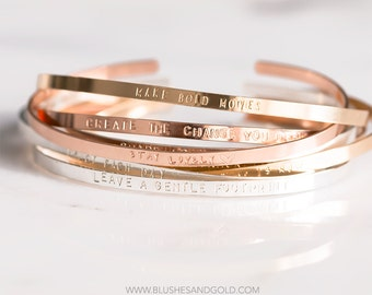 Bracelet Cuff, Engraved Cuff Bracelet, Thin, Mantra Band, Sterling Silver, Gold, Rose Gold Filled,