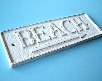 Cast Iron Beach Sign with Arrow, 21 Colors, Decorative Beach Sign, Beach House Gift