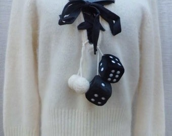 GUESS JEANS Cashmere Sweater with Hanging Dice & Puff Ball