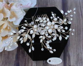 Silver or Gold Bridal Hair Comb, Wedding Hair Comb, Crystal Hair Comb, Swarovski Hair Comb, Hair Comb, Headpiece, Crystal Headpiece