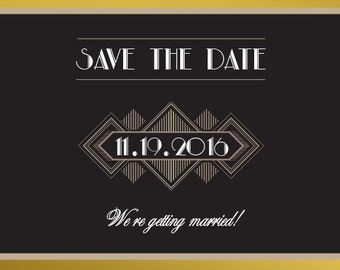 art deco wedding invitations art deco save the date printed. Black Bedroom Furniture Sets. Home Design Ideas