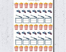 Movie Stickers, Cinema Stickers, PopCorn Stickers, Clapperboard Stickers, 3D Glasses, Functional Stickers, ECLP, Filofax, Kikki K