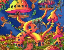 Psychedelic batik wall-hanging Tapestry, 'Pixie Party'. Hand-painted, silkscreen, UV active, trippy, shrooms, art decor
