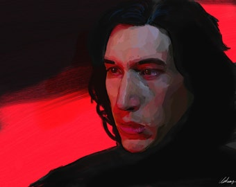 Kylo Ren Adam Driver (Star Wars: The Force Awakens) - Jedi Killer- Art Print