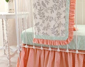 Crib Bedding Set in Peach Mint Gray, 3-Piece Bumperless Baby Bedding with Ruffle Blanket, Fitted Sheet, and Gather Skirt for Custom Nursery