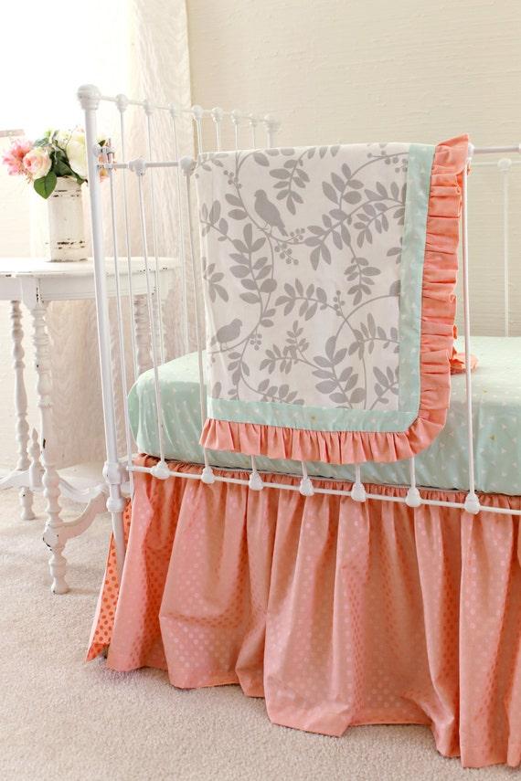 crib bedding set in peach mint gray 3 piece bumperless baby. Black Bedroom Furniture Sets. Home Design Ideas