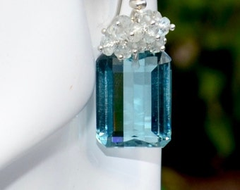 LP 1325 Sparkling Emerald Cut Bluish Green Quartz And Aquamarine Earrings