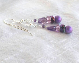 Amethyst Petite Dangle Earrings